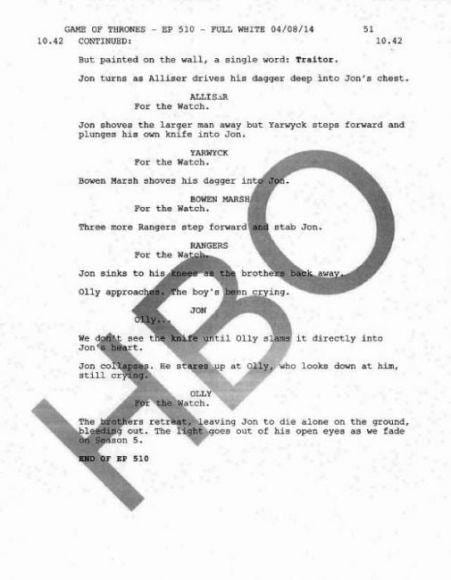 HBO Game of Thrones Script