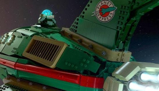 replica in LEGO dell'astronave di Futurama