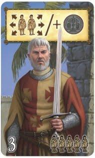 Una carta personaggio che permette di reclutare 5 scudieri, spostarne 2 o prendere una moneta d'argento...