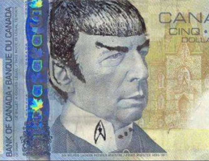 disegnare Spock sui cinque dollari