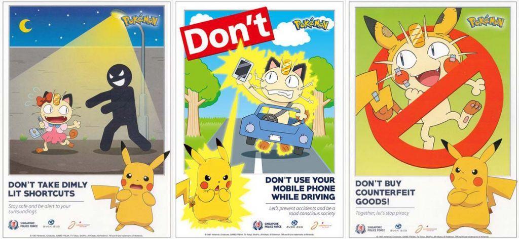 manifesti Pokémon polizia singapore