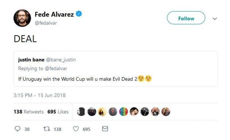 fede alvarez tweet uruguay evil dead