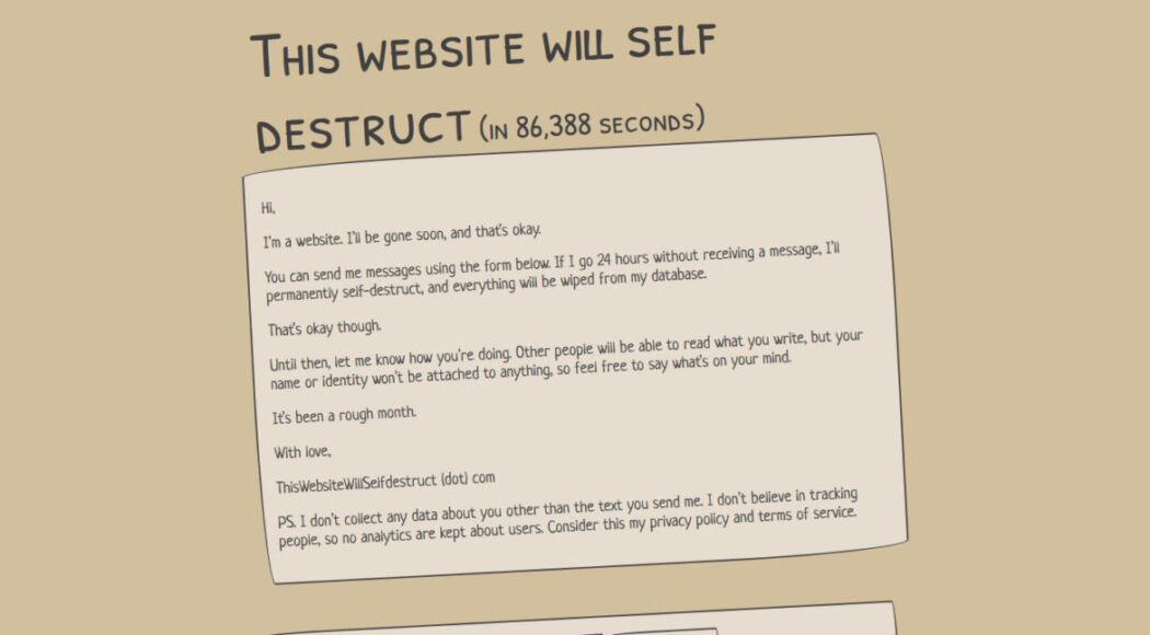 Questo sito è destinato ad autodistruggersi dopo 24 ore se nessuno scrive un messaggio