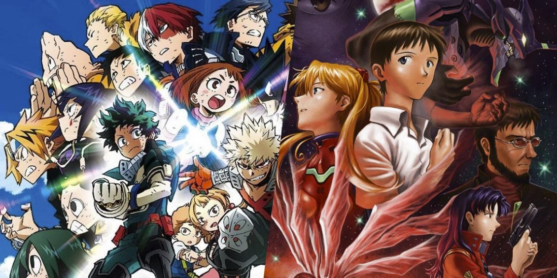 my hero academia heroes rising the end of evangelion Dynit